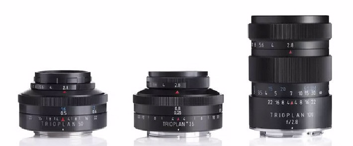 From left, Trioplan 35+, 50mm and 100mm