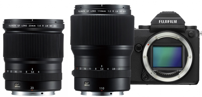 Fujifilm GF 23mm and 110mm lenses and body