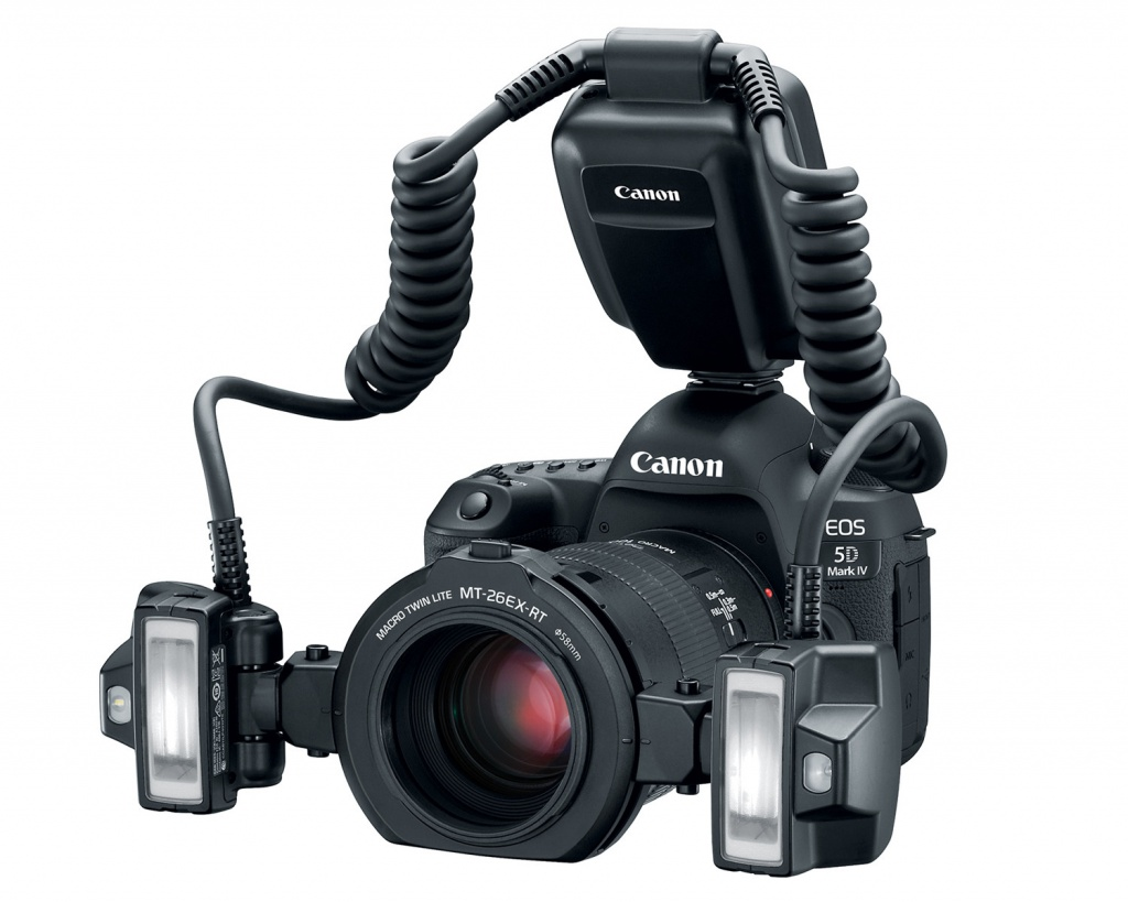 The Canon Macro Twin Lite MT-26EX-RT has twin flashes and a control module.