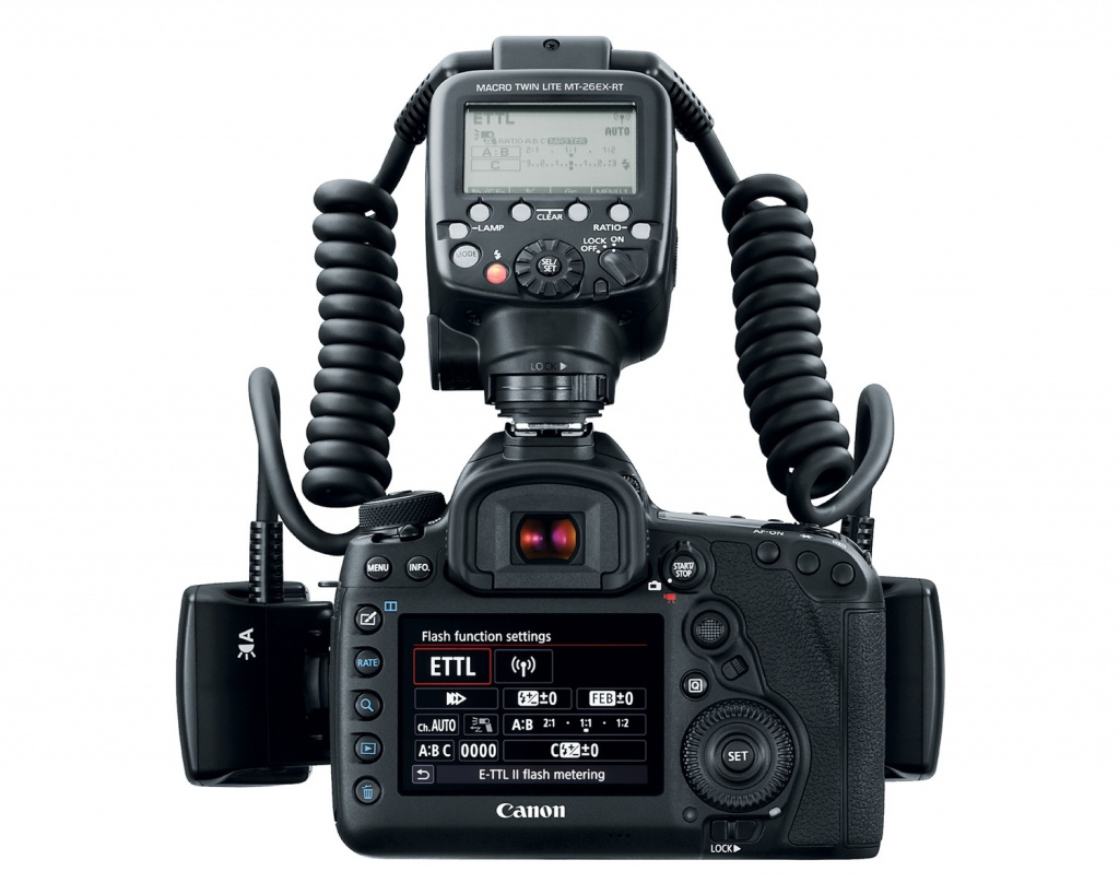 The Canon Macro Twin Lite MT-26EX-RT control module mounts in the camera's hot shoe.