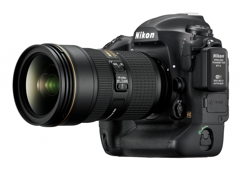 The Nikon D5 with the 24-70mm VR lens mounted and the WT-6 wireless transmitter attached.