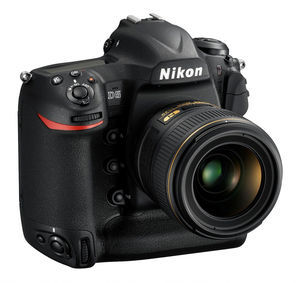 The handrip has the traditional Nikon red stripe.