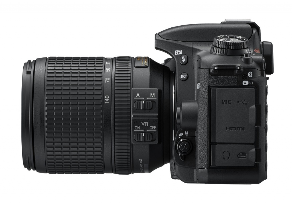 The Nikon D7500's port covers and body switches,
