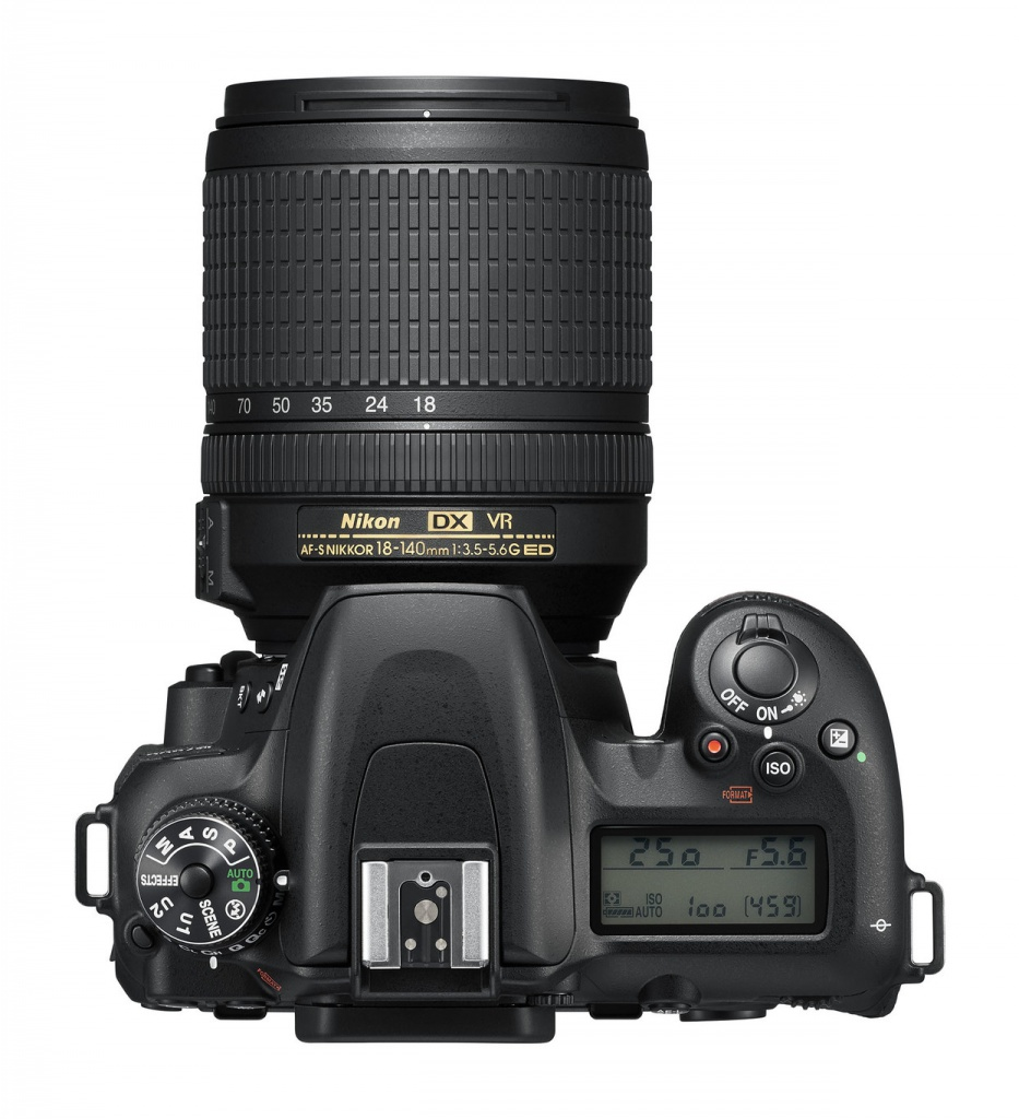 The top deck and controls of the Nikon D7500.