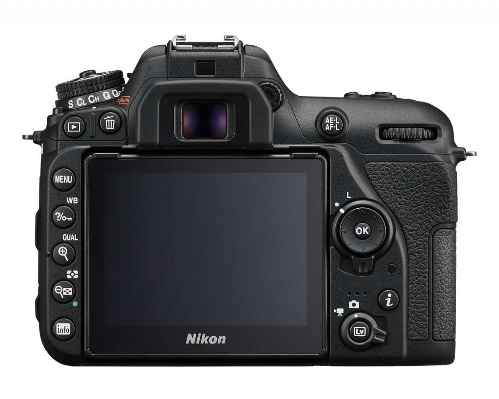 The 3.2-inch LCD monitor and rear controls of the Nikon D7500.