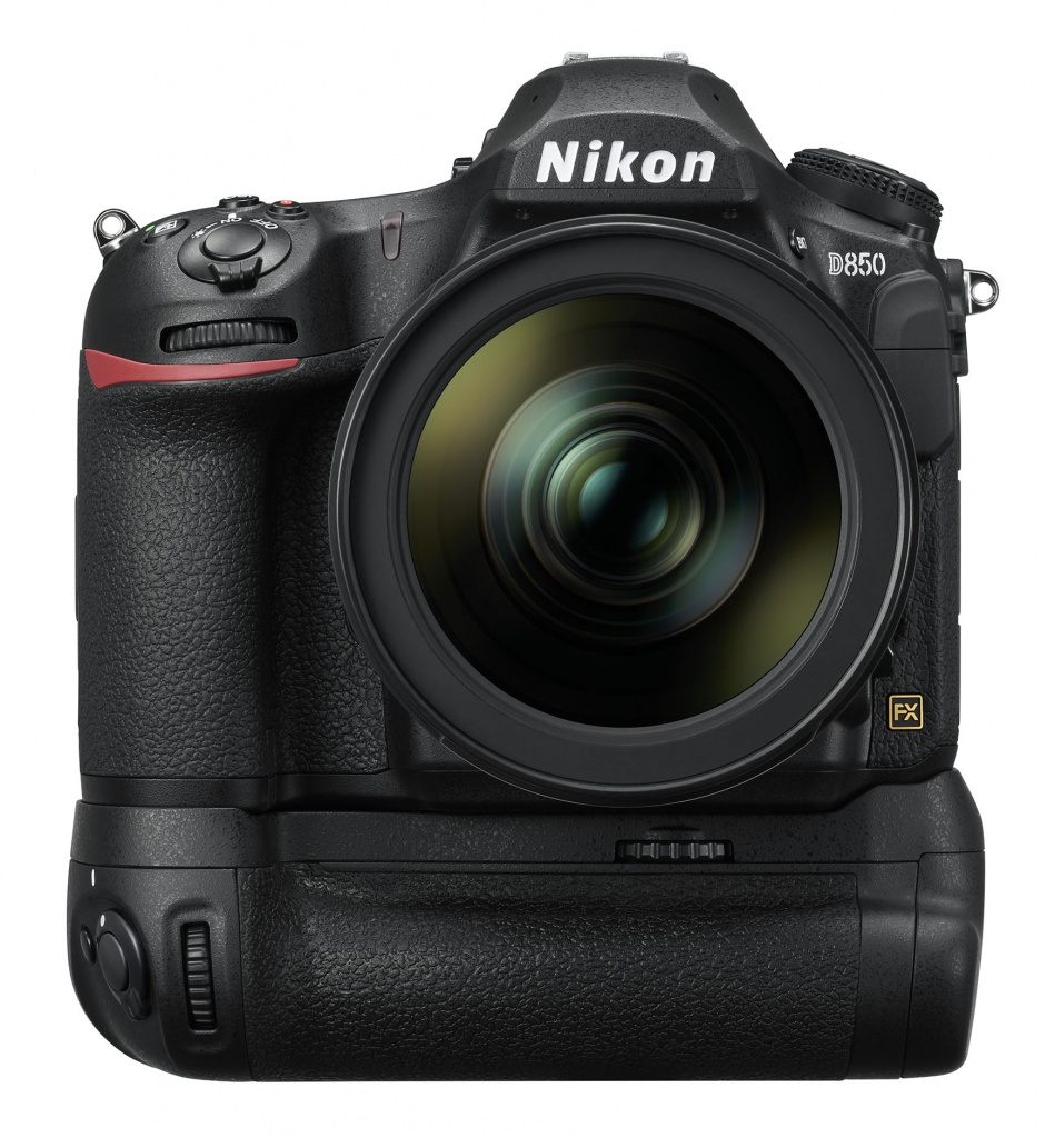The Nikon D850 with its 24-70mm lens and battery grip attached.