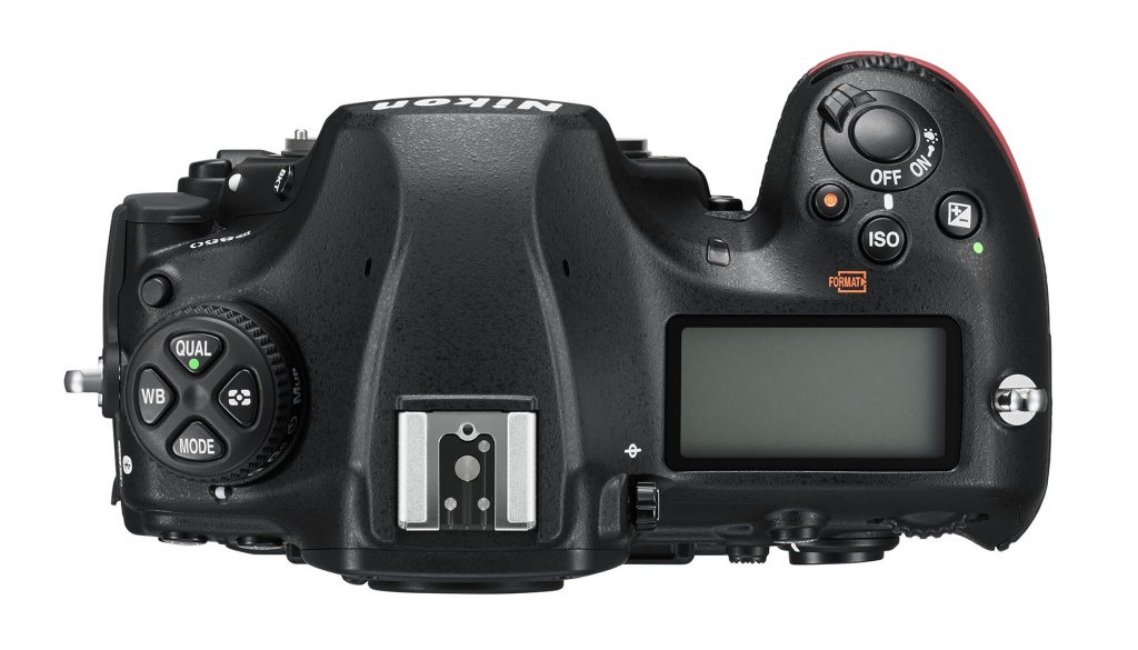 The Nikon D850's top deck and controls.