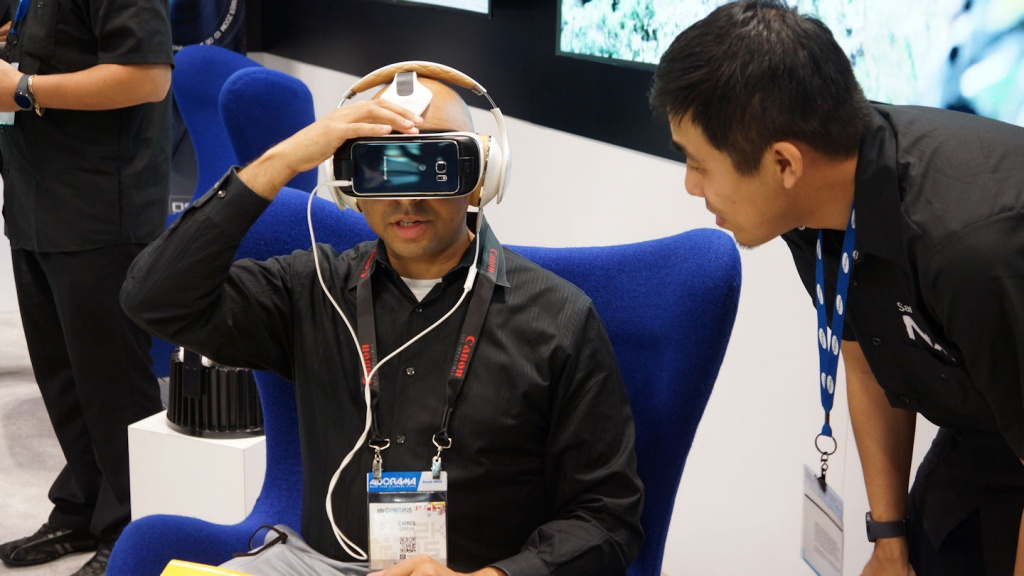 Samsung offered attendees the chance to test drive its virtual reality headgear that works with one of its mobile devices.