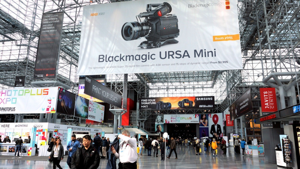 Large overhead banners greeted attendees at PhotoPlus Expo.
