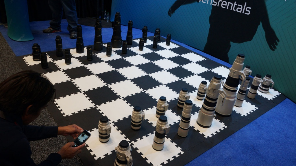One vendor set up a chessboard - Nikon vs. Canon, of course.