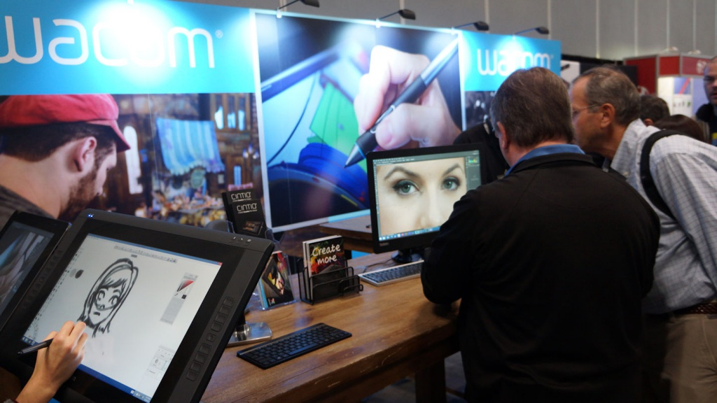 At the Wacom exhibit, attendees were free to try Wacom's various drawing tablets.