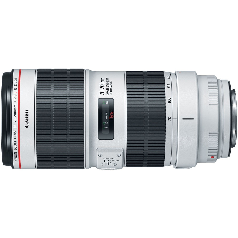 The barrel of the Canon EF 70-200mm f/2.8L IS III.