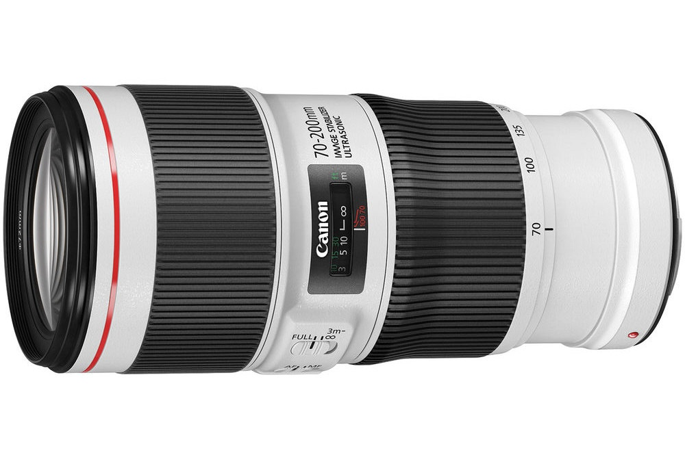 The distance scale of the Canon EF 70-200mm f/4L IS II.