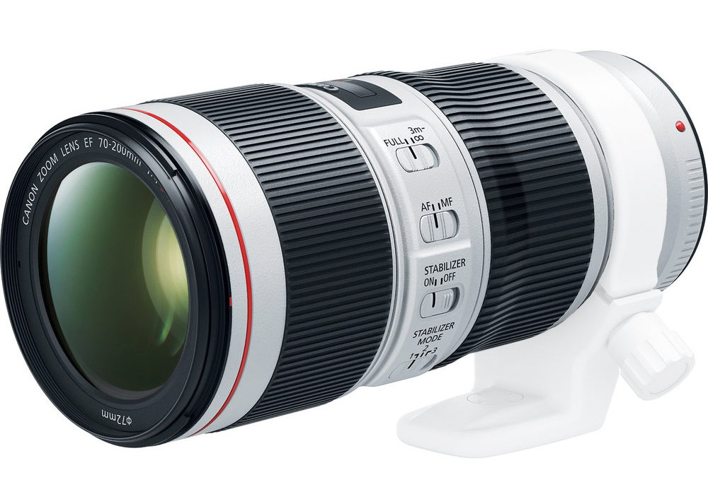 The Canon EF 70-200mm f/4L IS II is seen with its optional tripod collar.