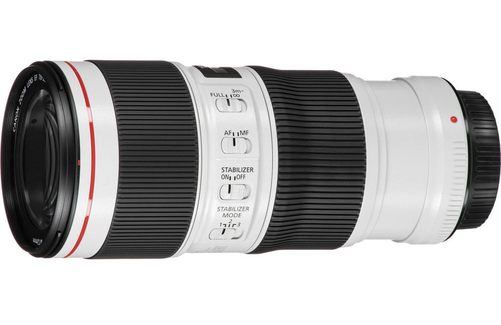 The barrel-mounted switches on the Canon EF 70-200mm f/4L IS II.