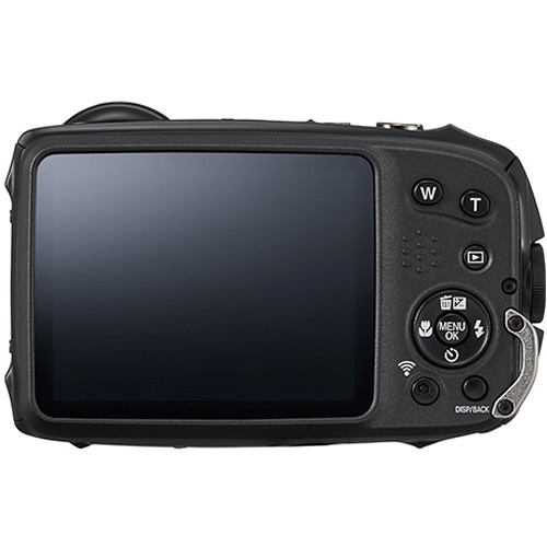 The 3.0-inch LCD monitor and rear controls of the Fujifilm FinePix XP120.