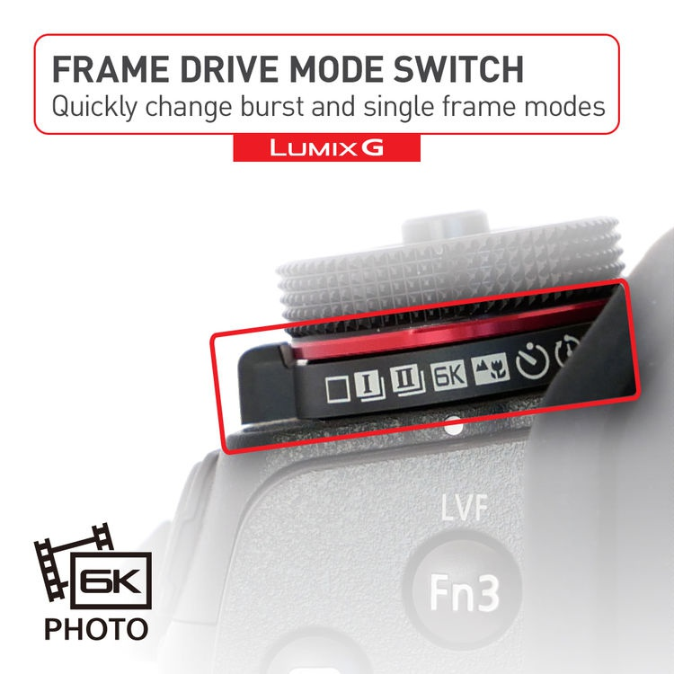 "This promotional graphic explains the Panasonic Lumix G9's ""Frame Drive Mode"" collar."