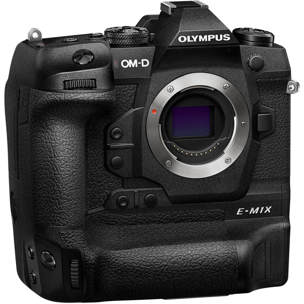 The Olympus OM-D E-M1X has an integrated battery grip that doubles shot capacity.