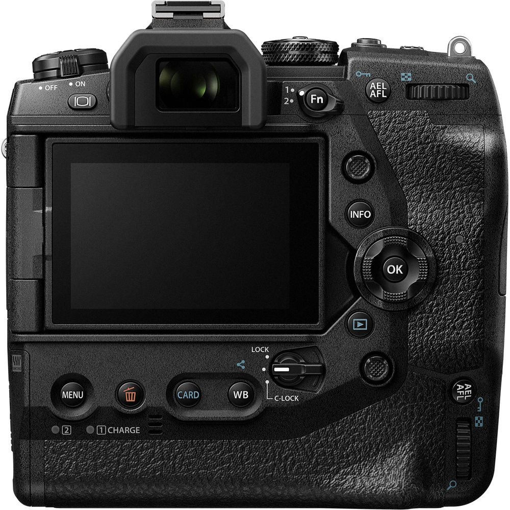The rear of the Olympus OM-D E-M1X and its controls.