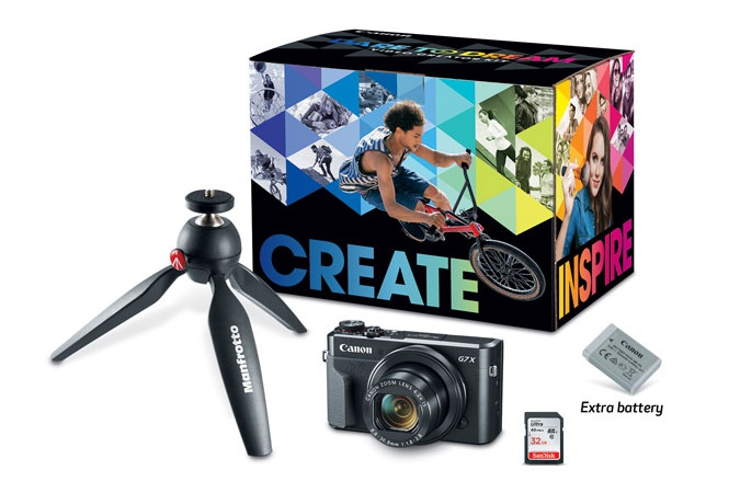 The Canon PowerShot G 7 X Mark II Video Creator Kit includes a camera, extra battery, memory card and mini-tripod.