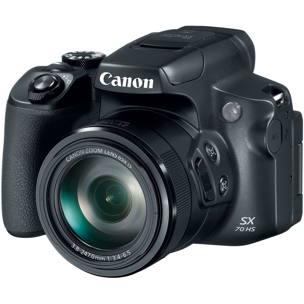 The Canon PowerShot SX70 HS is fitted with a 65X superzoom.