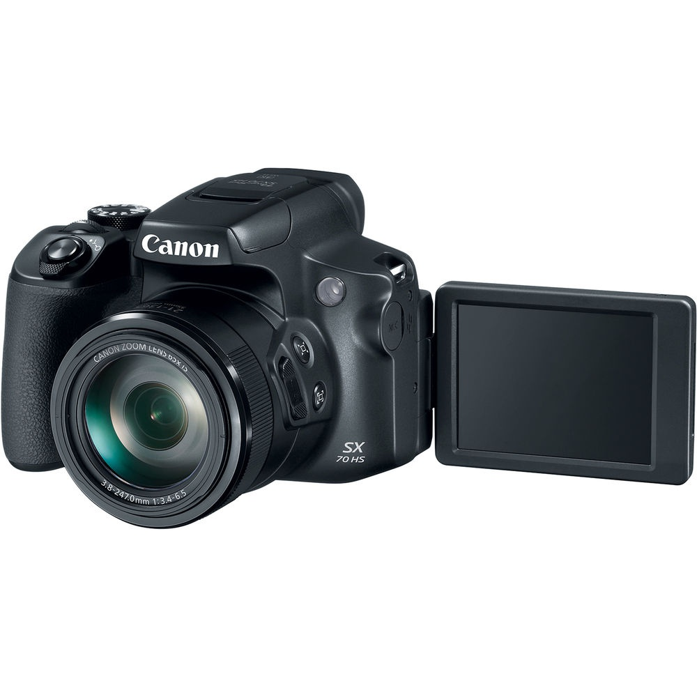 The Canon PowerShot SX70 HS' LCD monitor swings out and rotates up to 180 degrees.