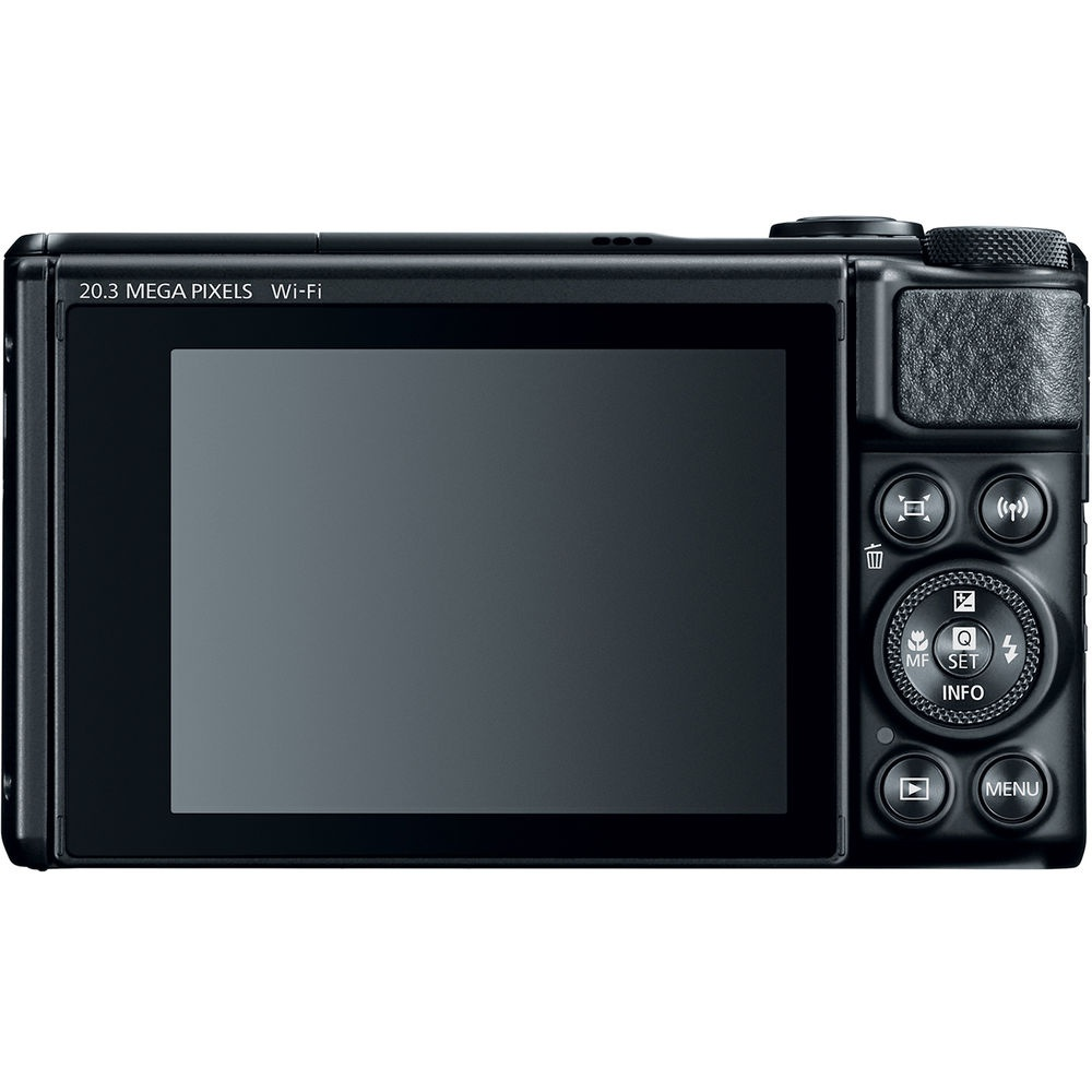 The rear of the Canon PowerShot SX740 HS has the LCD monitor and controls.