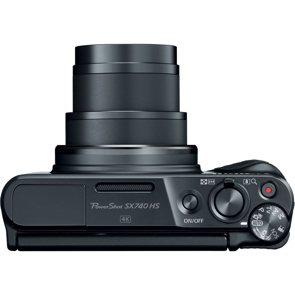 The top deck and controls of the Canon PowerShot SX740 HS.