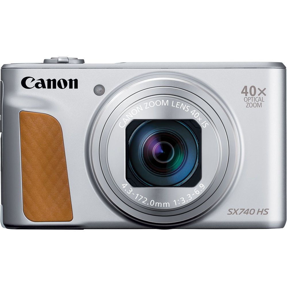 The silver model of the Canon PowerShot SX740 HS has a brown leather grip.