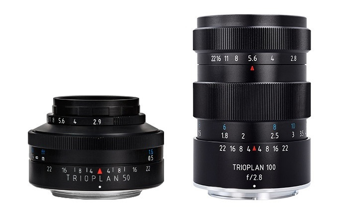 Two Meyer-Optik-Goerlitz Trioplans: f/2.9 50mm, left, and f/2.8 100mm.