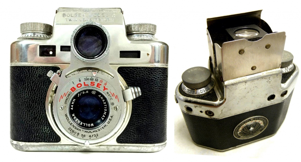 The Bolsey C-22 seemed like a good idea, but it wasn't. It's a twin-lens reflex design, yet inexplicably Bolsey put two more viewfinders onto the camera.