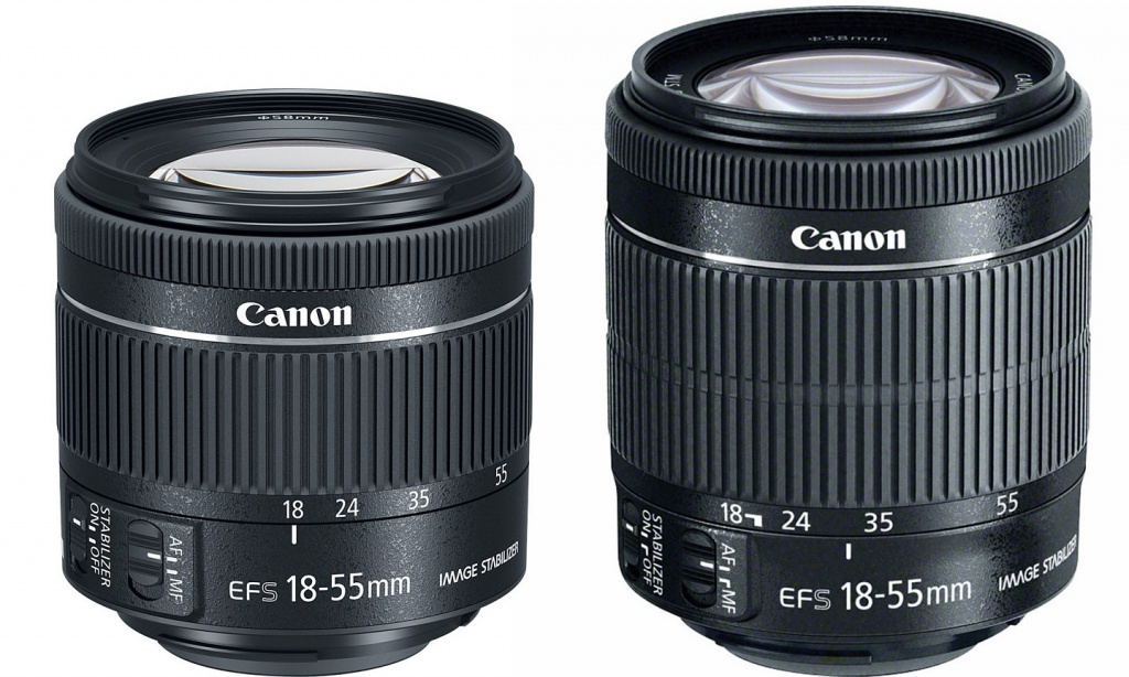 The EF-S f/4-5.6 18-55mm IS STM, left, is smaller than the previous version.