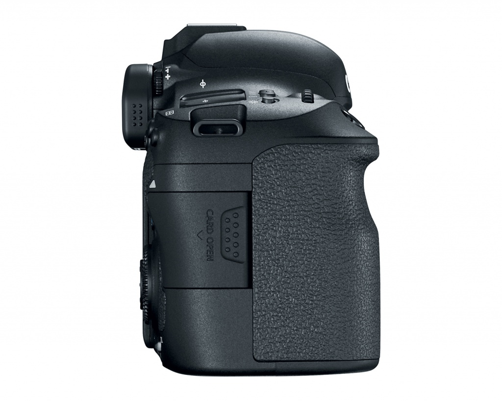 A small door on the Canon EOS 6D Mark II provides access to the SD memory card.