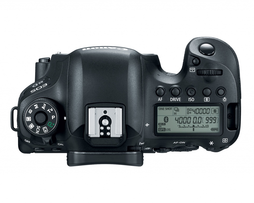 The top deck and controls of the Canon EOS 6D Mark II.