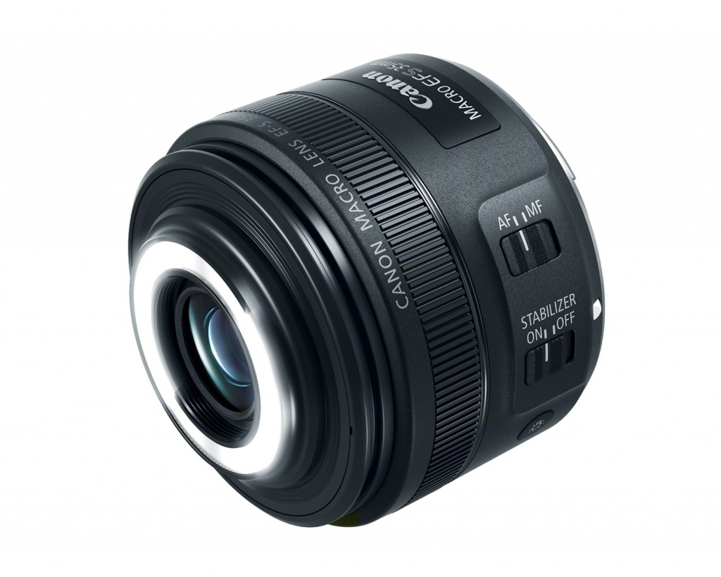 The LED lights of the Canon EF-S 35mm f/2.8 Macro IS STM are controlled by a barrel-mounted button that can be seen under the image stabilizer's on-off switch.