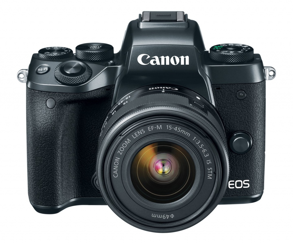 The Canon EOS M5 with the 15-45mm kit lens.