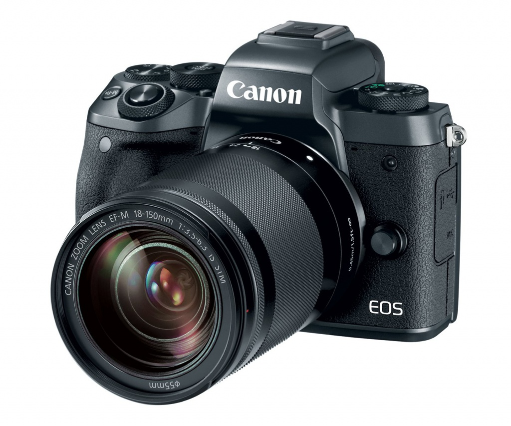 The Canon EOS M5 with the 18-150mm kit lens.