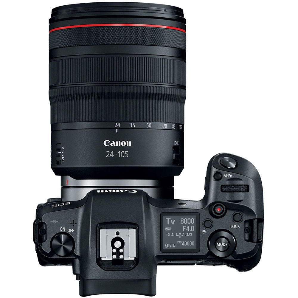 The top deck and controls of the Canon EOS R.