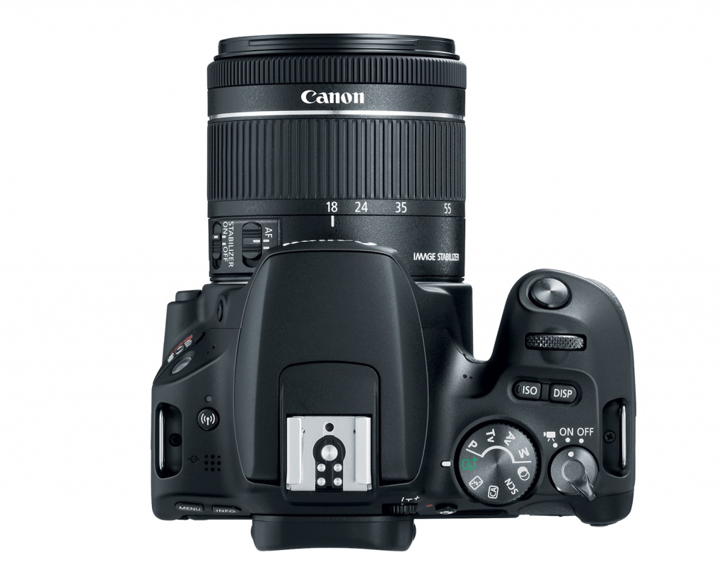 The Canon EOS Rebel SL2's top deck and controls.