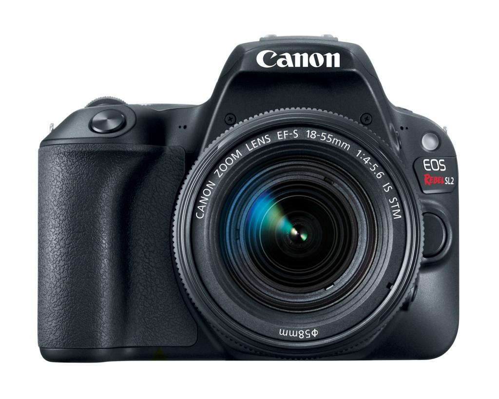 The Canon EOS Rebel SL2 with its EF-S 18-55mm kit lens.
