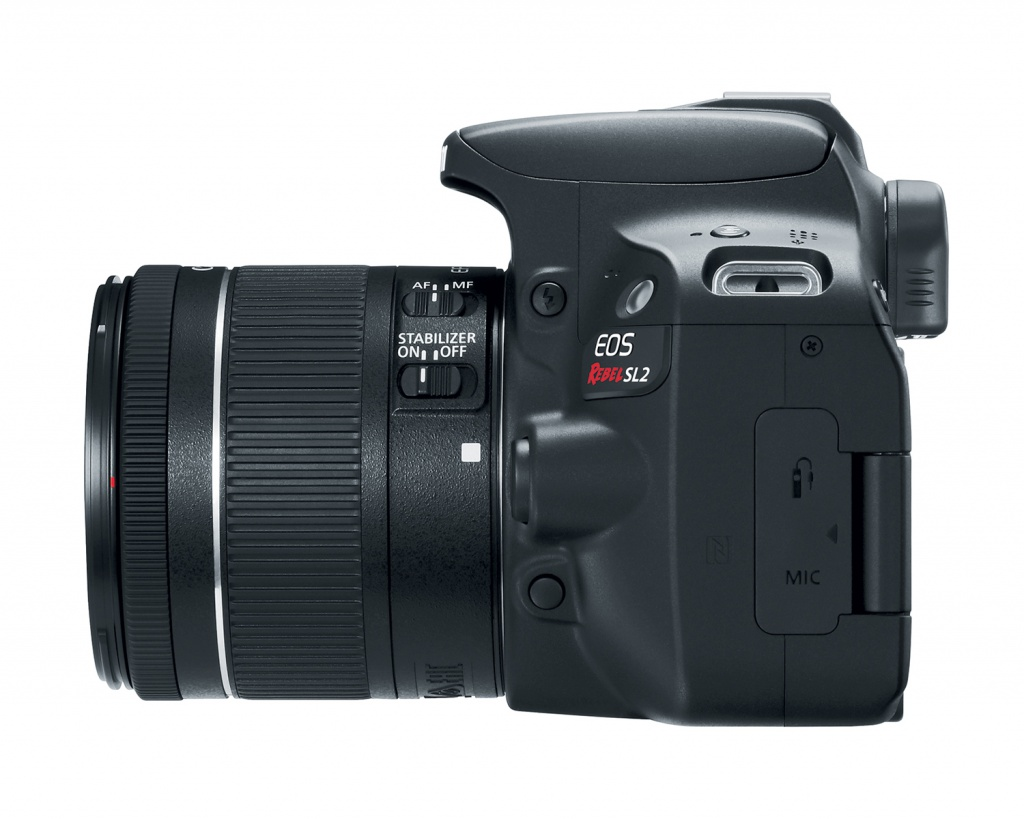 Port covers for the remote control and microphone on the Canon EOS Rebel SL2.
