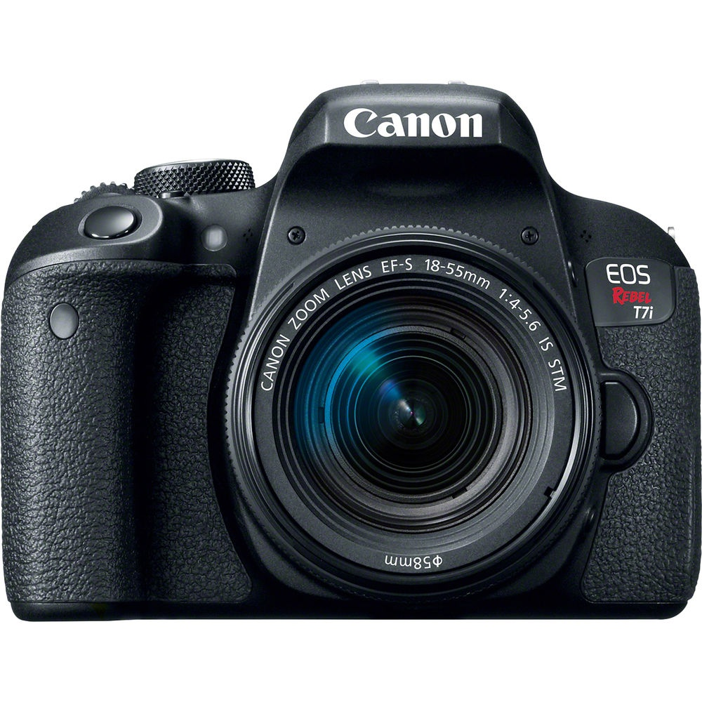 The Canon EOS Rebel T7i with its 18-55mm kit lens.
