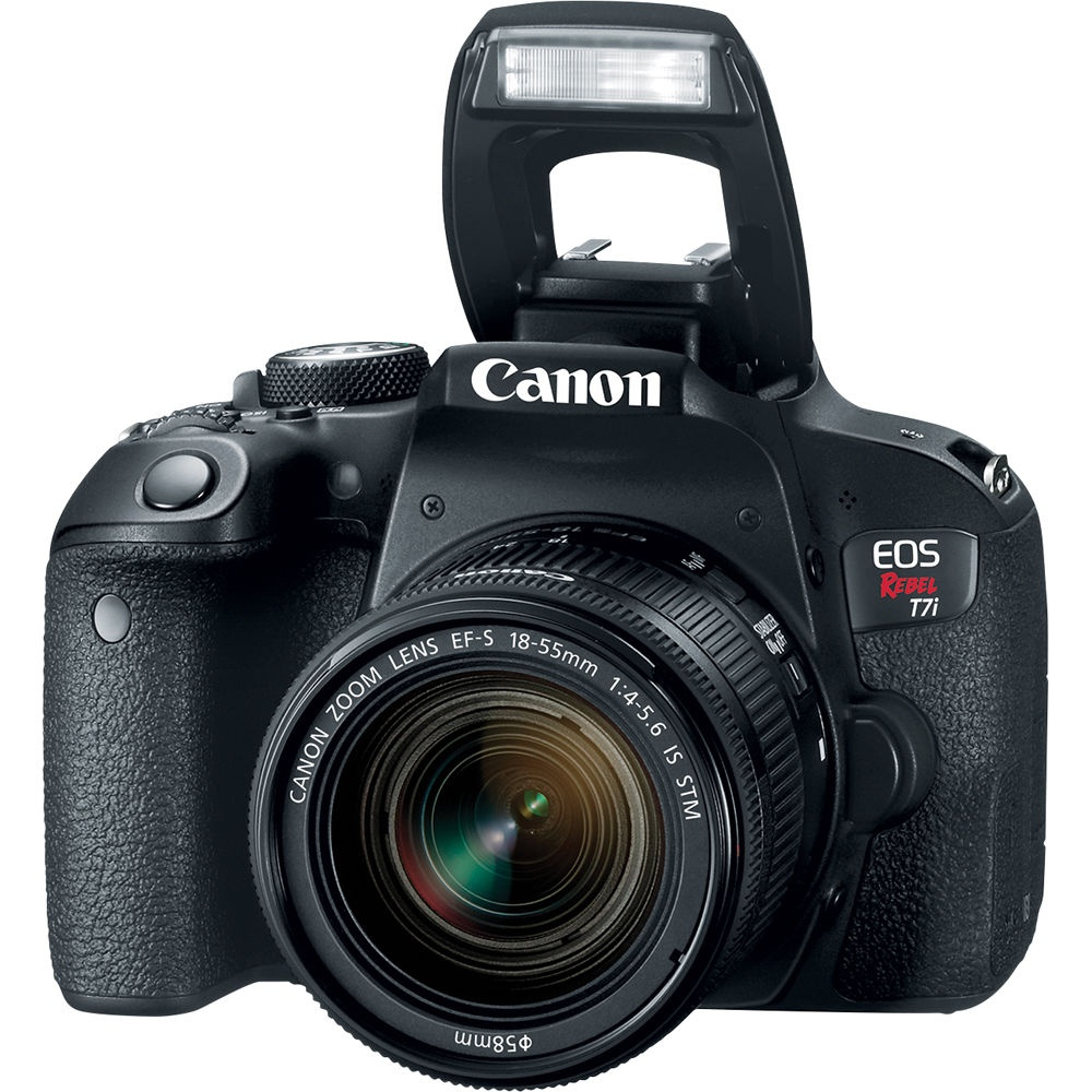The Canon EOS Rebel T7i has a built-in pop-up flash.