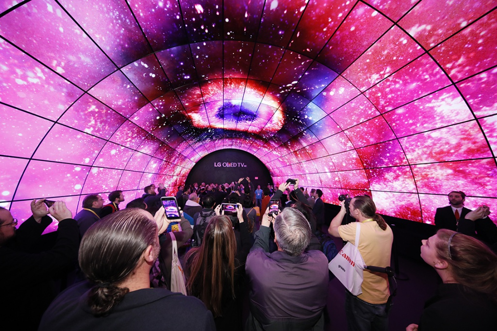 This tunnel of OLED displays by LG Electronics set the tone for CES 2017. (CES 2017)