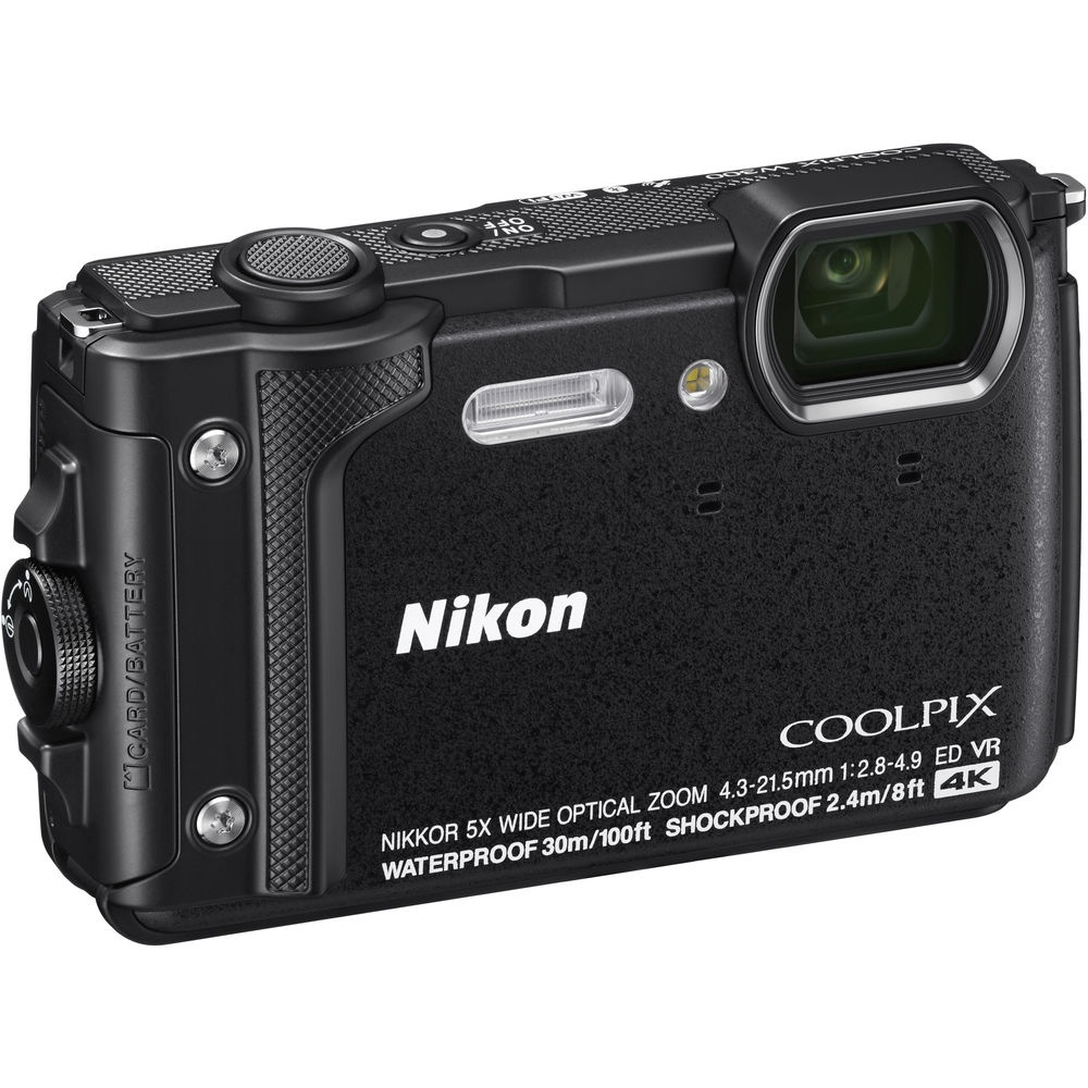 The Nikon Coolpix W300 has a small built-in flash.