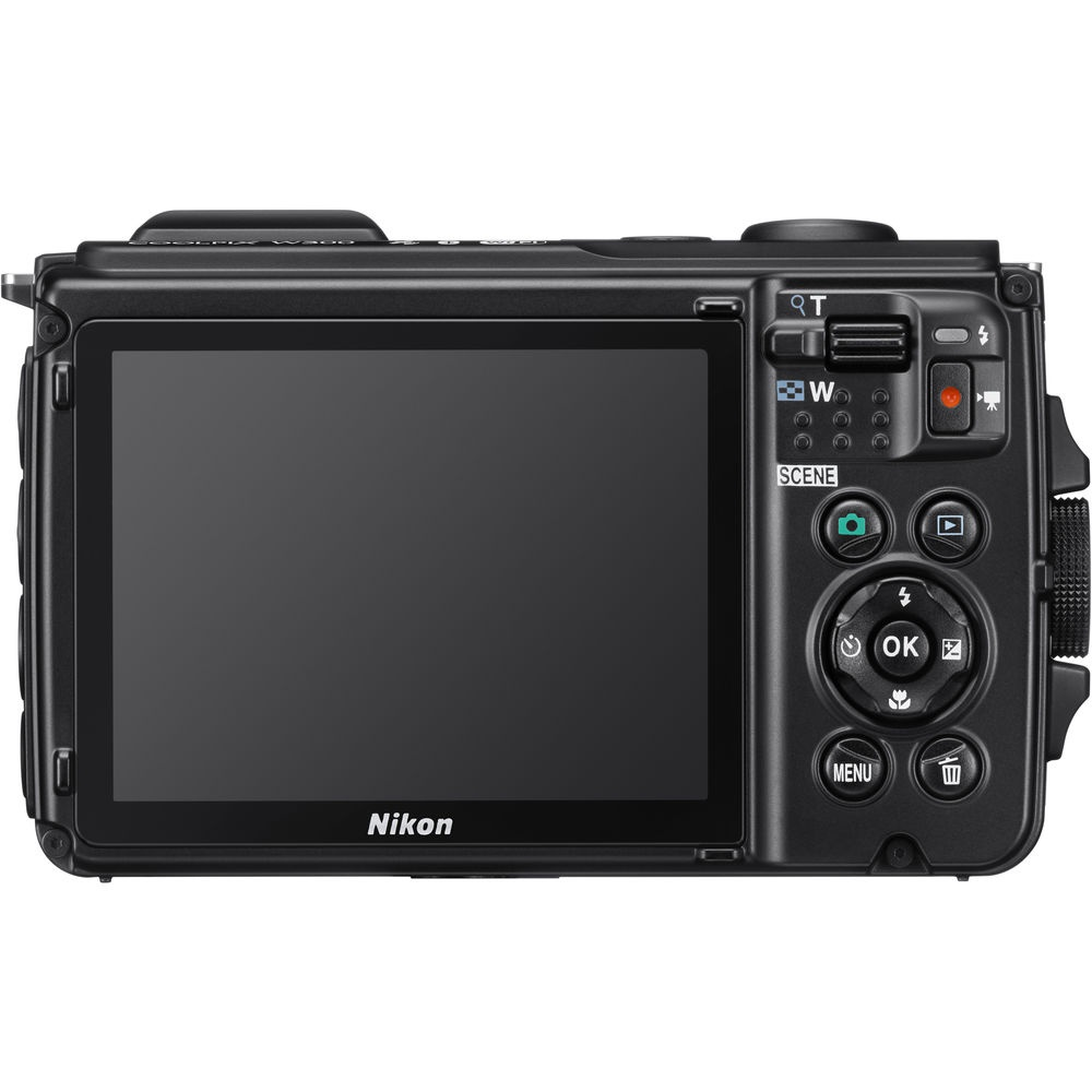 The rear controls and LCD monitor of the Nikon Coolpix W300.