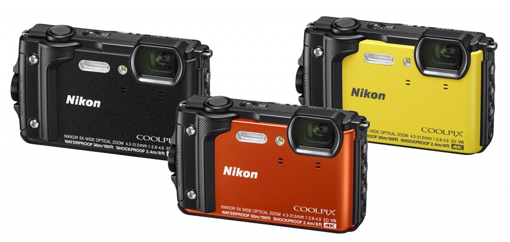 The three available colors of the Nikon Coolpix W300.