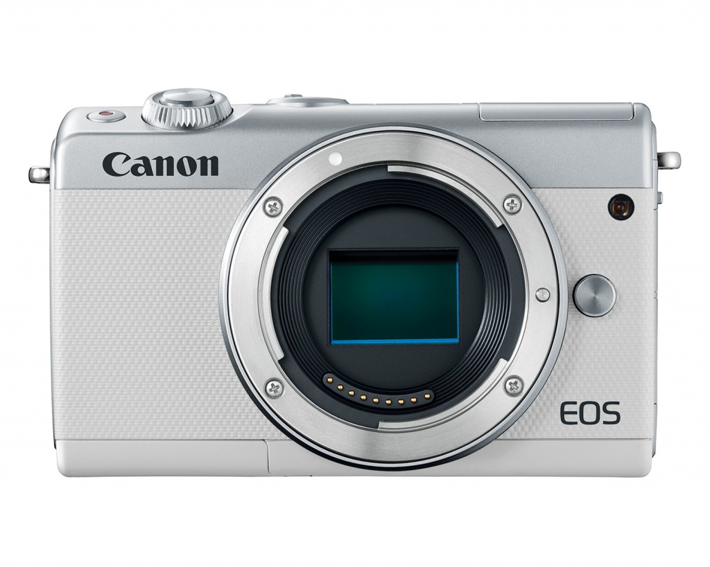The mirrorless Canon EOS M100 is also available in white.