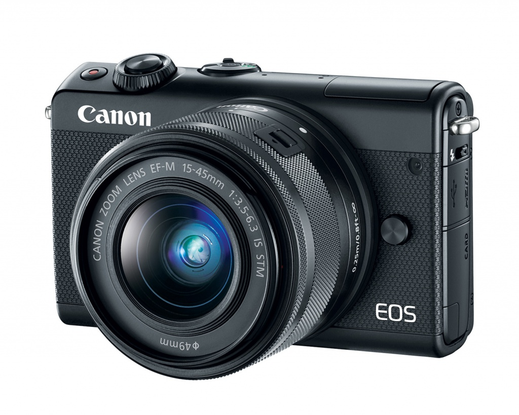 The Canon EOS M100 in black with its 15-45mm kit lens.