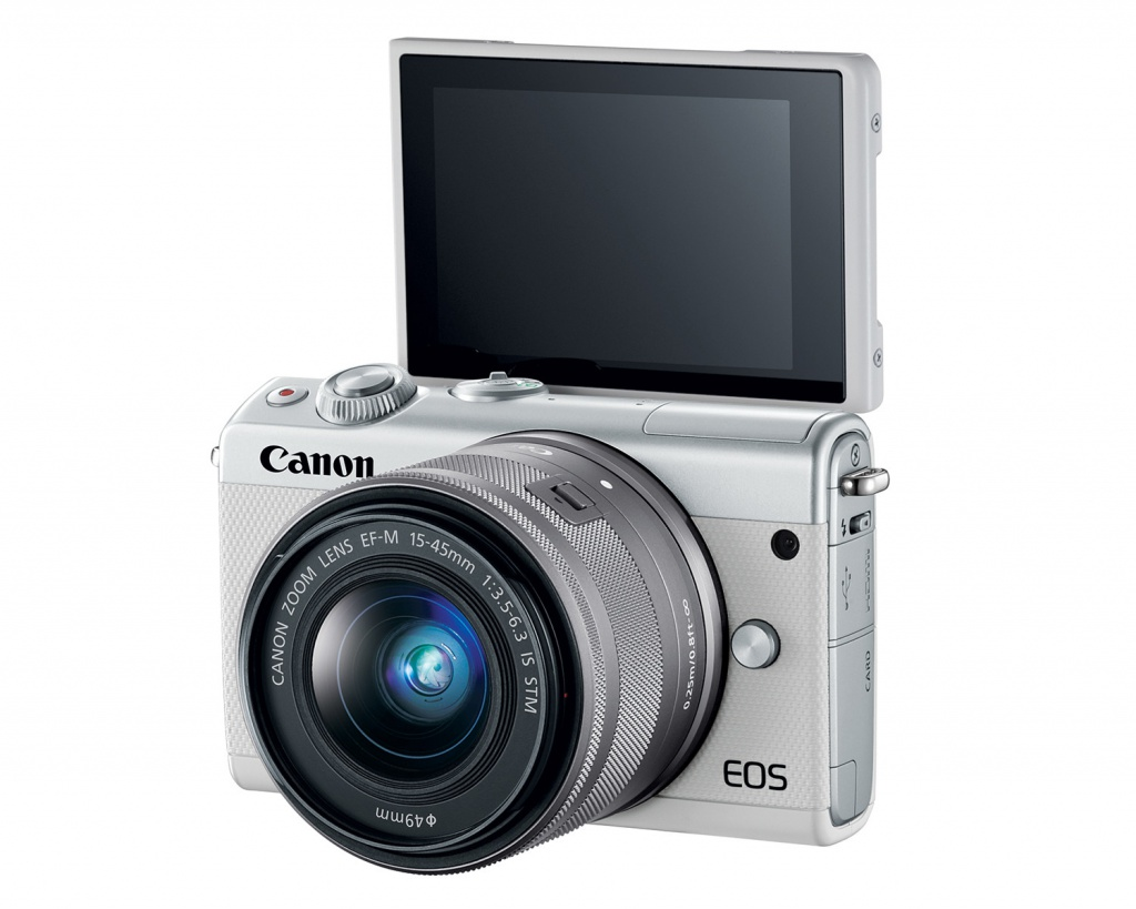 The LCD monitor of the Canon EOS M100 flips upward 180 degrees.
